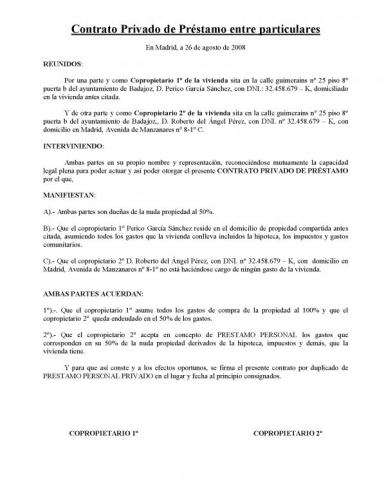 Documento contrato privado pretamo personal privado for Contrato documento