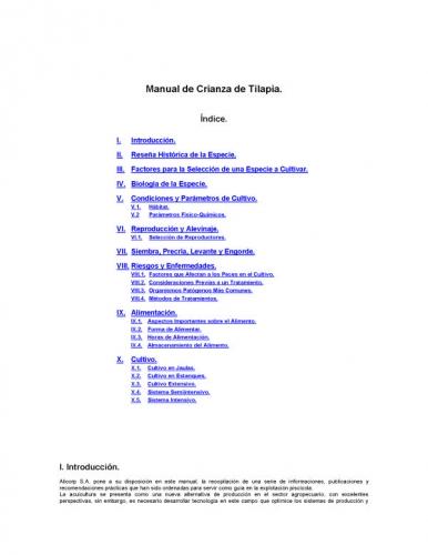 Documento manual de crianza de tilapia for Manual para criar tilapias
