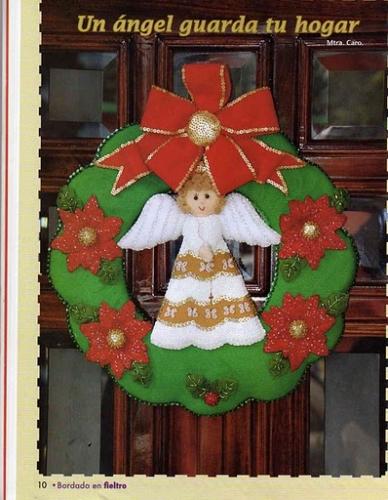 Imagen corona navide a en fieltro - Coronas navidenas de fieltro ...