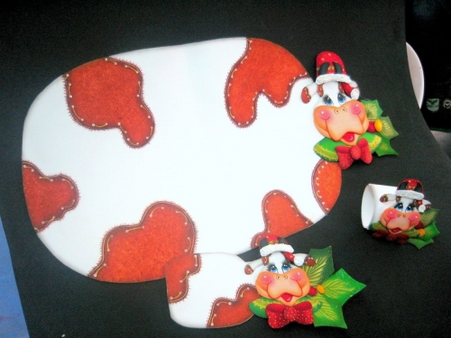 Moldes de vacas en foami navideñas - Imagui