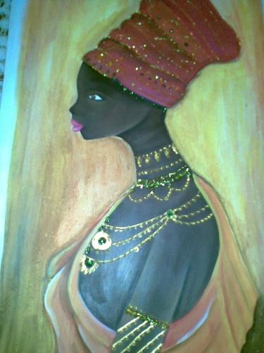 mulata pintada en madera