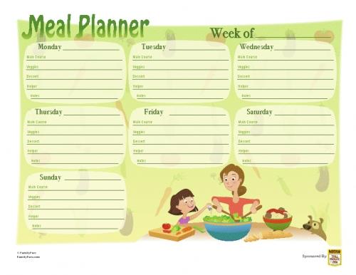 Plantilla menu semanal imagui for Menu para comida familiar